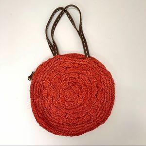 Anthropologie Lucky Penny Raffia Circle purse